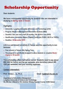 Cơ hội học bổng ở Đài Loan