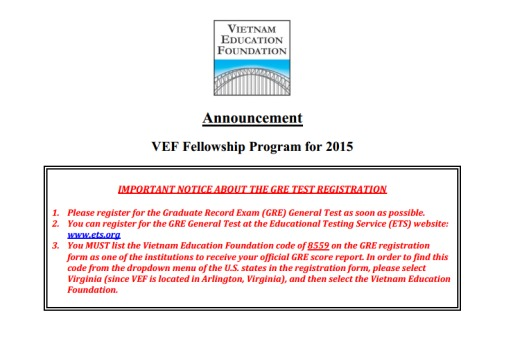 Announcement: VEF Fellowship Program for 2015