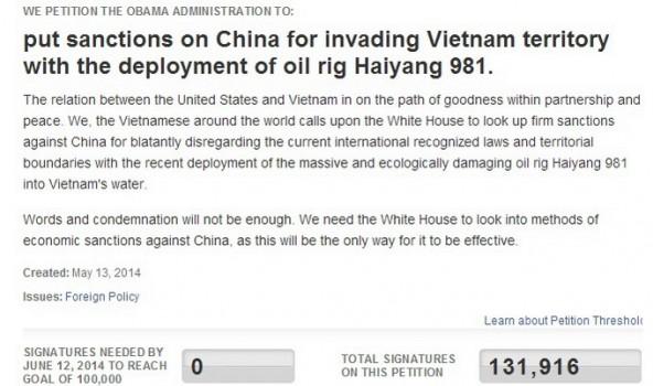 Gần 132.000 người ký đơn yêu cầu Mỹ trừng phạt Trung Quốc