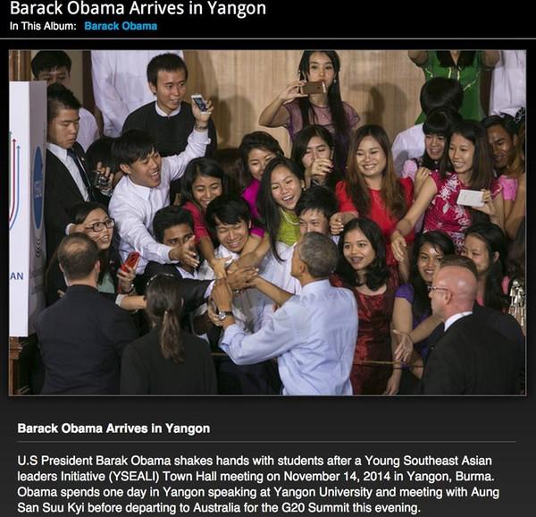 Hình ảnh lúc Tổng thống Obama bắt tay đoàn của Chí Long đã được trang AFP đăng tải.