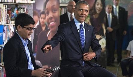 Học sinh lớp 6 ngắt lời Tổng thống Obama