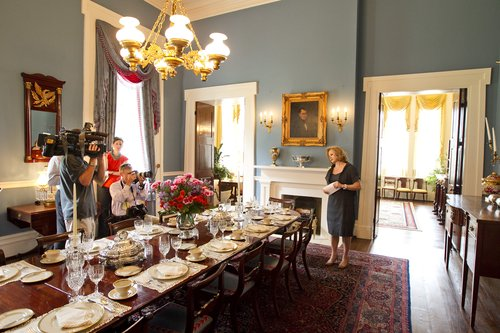 18 JULY 2012:  First Lady, Anita Perry gives a tour of the Texas Governor's Mansion in Austin, Texas, on Wednseday, July 18, 2012.   The Governor's Mansion reopened after renovations and repairs following a fire five years ago.  Rodolfo Gonzalez/American-Statesman