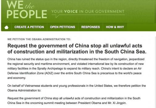 Sinh viên Việt ở Hoa Kỳ đề nghị TT Obama có hành động mạnh mẽ chấm dứt việc Trung Quốc gây hấn