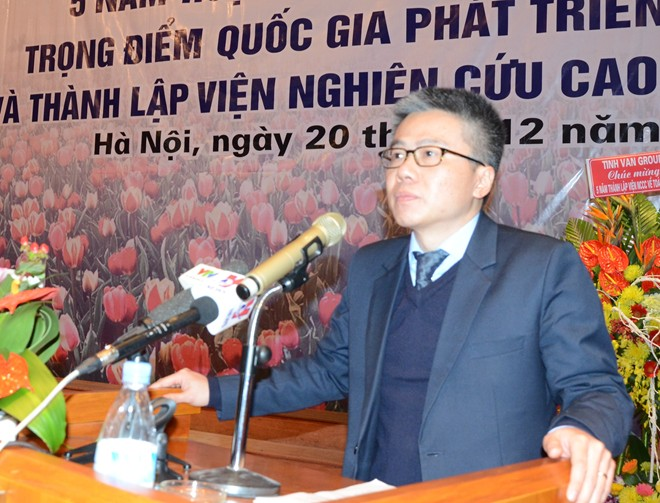 GS Ngô Bảo Châu phát biểu trong buổi lễ. Ảnh: Quyên Quyên.