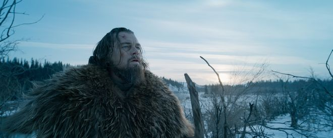 """This photo provided by courtesy of  Twentieth Century Fox shows, Leonardo DiCaprio as Hugh Glass, in a scene from the film, """"The Revenant,"""" directed by Alejandro Gonzalez Inarritu. The movie opens in limited release on Dec. 25, 2015, and wider release in U.S. theaters on Jan. 8, 2016. (Courtesy Twentieth Century Fox via AP) ORG XMIT: CAET668"""