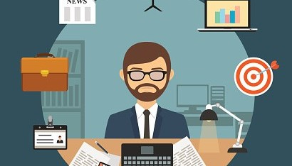 Businessman with office supplies laptop and finance business icons