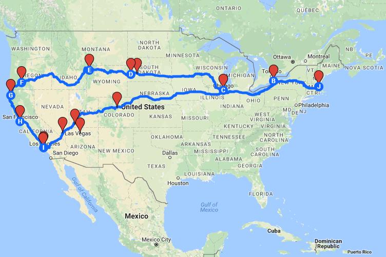 Google map chỉ cho phép đánh dấu tối đa 15 địa điểm. Trên thực tế, Nguyên đã cùng bạn đồng hành đi đến khoảng 20 tiểu bang trên khắp nước Mỹ.