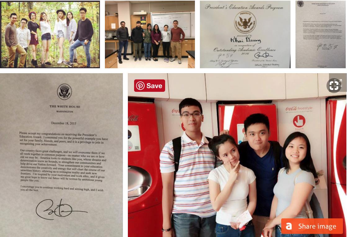 Đình Khải cùng bạn bè tại Mỹ. Sau 4 năm học tập ở nước ngoài, Khải đạt được một số thành tích tốt. Ảnh: NVCC.