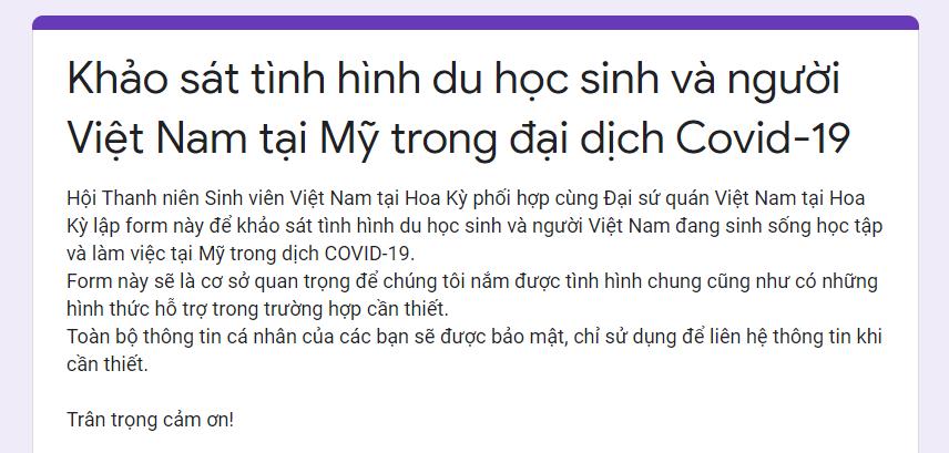 Khảo sát tình hình du học sinh và người Việt Nam tại Mỹ trong đại dịch Covid-19